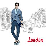Man with tablet in London. United Kingdom. Hand-drawn illustration. Fashion sketch Stock Photography