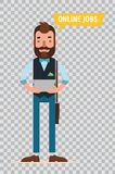 Man looking for job through online service. Flat characters on transparent background. Man with tablet looking for job through online service. Man searching job Royalty Free Stock Photo
