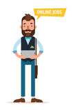 Man with tablet looking for job through online service. Man searching. Job. Online recruitment service. Vector illustration Stock Photography