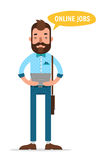Man with tablet looking for job through online service. Man searching. Job. Online recruitment service. Vector illustration Stock Photos