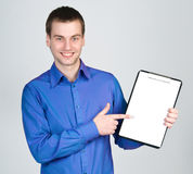 Man with a tablet for notes Stock Images