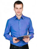 Man with a tablet for notes Stock Image