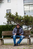 Man with tablet outdoor Stock Photos