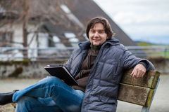 Man with tablet outdoor Royalty Free Stock Photos