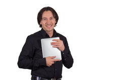 Man with tablet pc. He has managed to get out, love, happiness Stock Photos