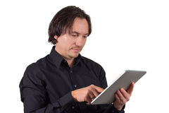 Man with tablet pc. If you work with a table pc Royalty Free Stock Images