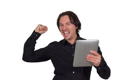 Man with tablet pc. If you work with a table pc Royalty Free Stock Image
