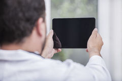 Man with Tablet PC. Man with a Tablet PC Royalty Free Stock Images
