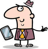Man with tablet pc cartoon illustration Stock Photography