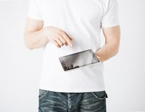 Man with tablet pc Stock Images