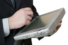 Man with tablet-pc in hands Stock Photo