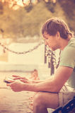 Man with Tablet PC Outdoor Royalty Free Stock Images