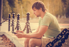 Man with Tablet PC Outdoor Royalty Free Stock Image