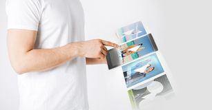 Man with tablet pc watching video Royalty Free Stock Photo