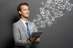 The man with a tablet   Stock Images