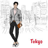 Man with tablet. Sketch of man with tablet on street in Shibuya, Tokyo, Japan Stock Photos