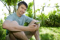 Man with tablet Stock Photos