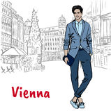 Man with tablet. Young man with tablet in Viena, Austria. Hand-drawn illustration. Fashion sketch Royalty Free Stock Images