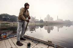 Man with Taj Mahal Palace on background Stock Photography