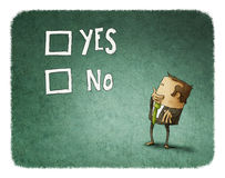 Man take a decision. Between yes or no vector illustration
