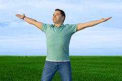 Man take energy from nature Royalty Free Stock Image