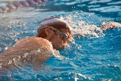 Man take part in swimming competition Royalty Free Stock Photo