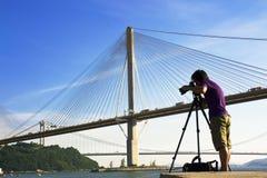 Man take photo of the bridge Stock Photo