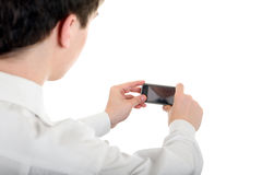 Man take a Picture with a Cellphone Royalty Free Stock Images