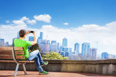 Man take selfie and Seattle downtown view Royalty Free Stock Images