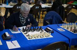Chess player preparing before tournament. A man take some notes as he wait for the start of a local chess tournament in the island of Mallorca. Chess is a two Royalty Free Stock Photo