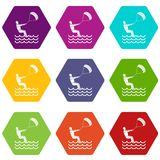 Man takes part at kitesurfing icon set color hexahedron. Man takes part at kitesurfing icon set many color hexahedron isolated on white vector illustration Stock Photography