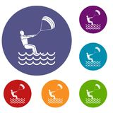 Man takes part at kitesurfing icons set Royalty Free Stock Images