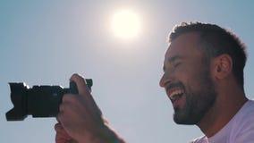 A man takes a photo.  stock video
