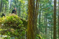 Man Takes Short Break During Hike. Middle-aged man takes a breather during a hike Stock Photo