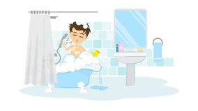 Man takes shower. Royalty Free Stock Images