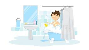 Man takes shower. Royalty Free Stock Photo
