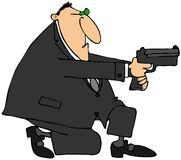 Man taking aim with a gun. This illustration depicts a man in a suit kneeling while aiming a pistol Stock Photo