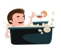 Man taking a bath enjoying  illustration cartoon character Royalty Free Stock Photo