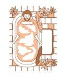 Man taking a bath tub with house. Vector illustration design royalty free illustration