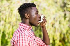 Man is taking a breath of air fresh Stock Photos