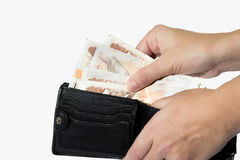 Man taking czech money out of wallet Stock Image