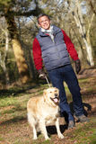 Man Taking Dog On Walk Through Autumn Woods Royalty Free Stock Photos