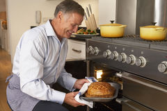 Man Taking Food Out Of The Oven royalty free stock image