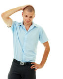 Man taking his head. Standing bold man taking his head with his hand his face expresses failure Royalty Free Stock Photography