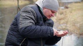 Man taking medication stock footage