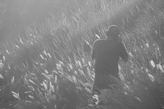 Man Taking Photo on Grass Field in Greyscale Photography Royalty Free Stock Photo