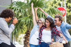 Man taking photo of his friends Stock Photo