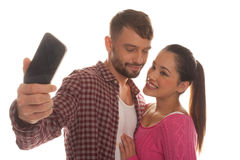 Man taking a photo of his girlfriend Royalty Free Stock Photography