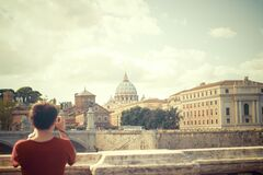 Man taking photo at Tiber Royalty Free Stock Images