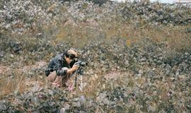 Man Taking Photo Using Dslr Camera royalty free stock images
